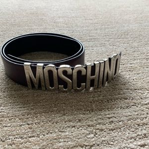 Moschino brown leather classic logo belt